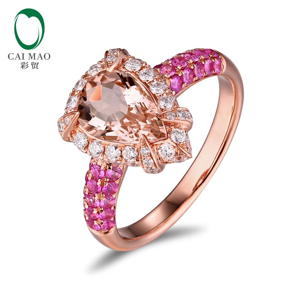 sale 14k rose gold 1 79ct natural peach morganite 1 13ctw diamonds ...