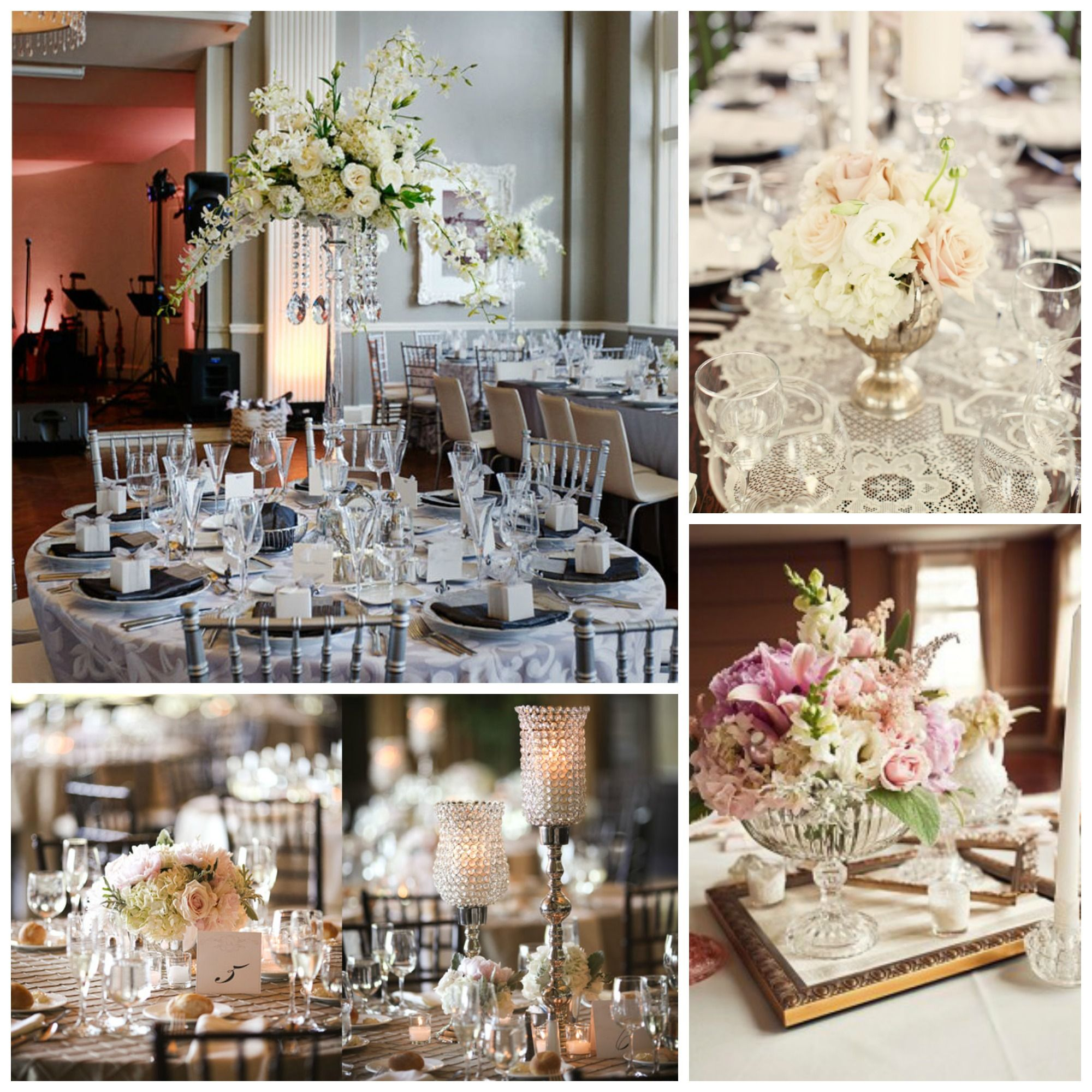 Lace And Pearl Centerpieces