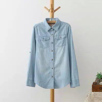 Denim Shirts Tops Ladies Long Sleeve Blue Jeans Shirt Women Casual Blouses Femininas 2016 Spring autumn Plus Size Jeans Blouse