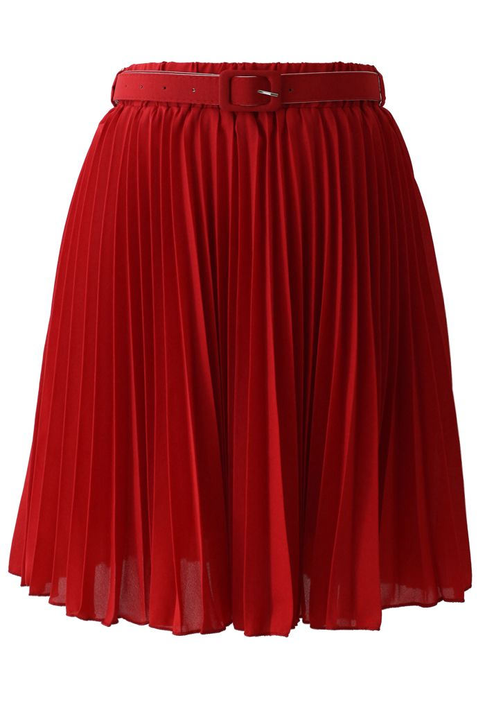 Red Pleated Chiffon Midi Skirt with Belt - New Arrivals - Retro, Indie and Unique Fashion