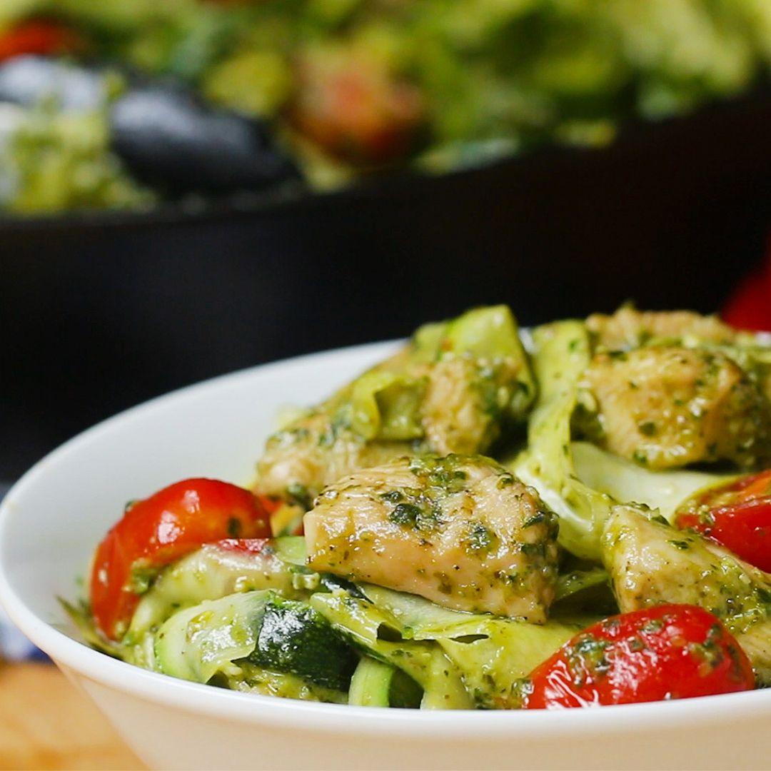 recept pasta pesto kip courgette