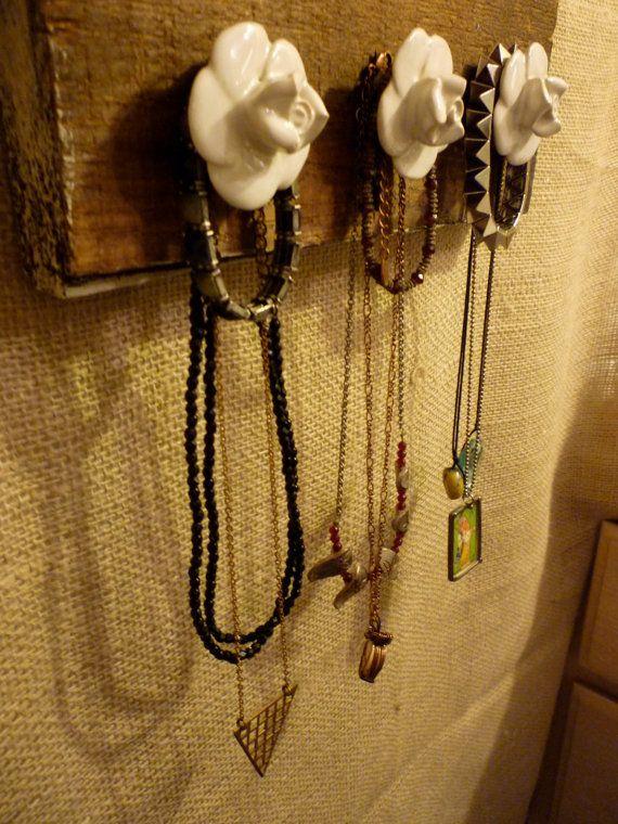 Upcycled Jewelry Organizing Display Wood Plank Jewelry