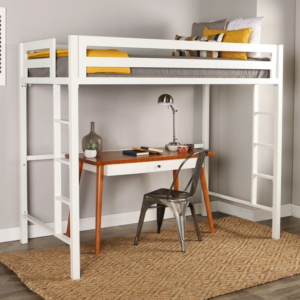 Boys' twin loft bed with storage steps  Twin Metal Loft Bed  White  Room Revamp  Pinterest  Lofts Room