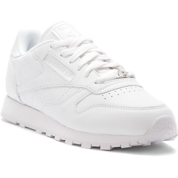 Reebok Women's Classic Leather Athletic (€110) ❤ liked on Polyvore featuring shoes, athletic shoes, flexible shoes, athletic footwear, two tone shoes, reebok footwear and real leather shoes