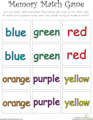 color word memory match