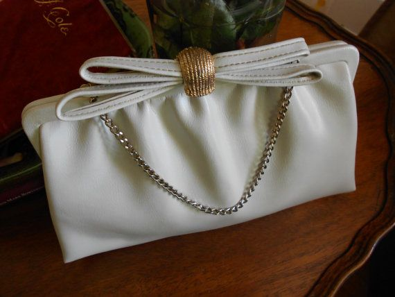 Vintage bone colored purse with coin purse