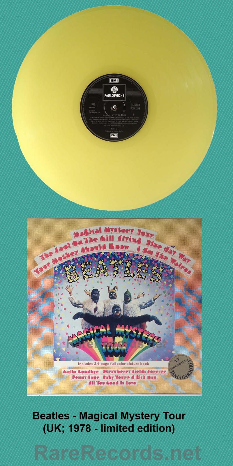 Beatles - Magical Mystery Tour This 1967 LP was briefly reissued in 1978 on yellow vinyl in the UK.  Oddly enough, the records were made exclusively for export to the United States. #records #vinyl #albums