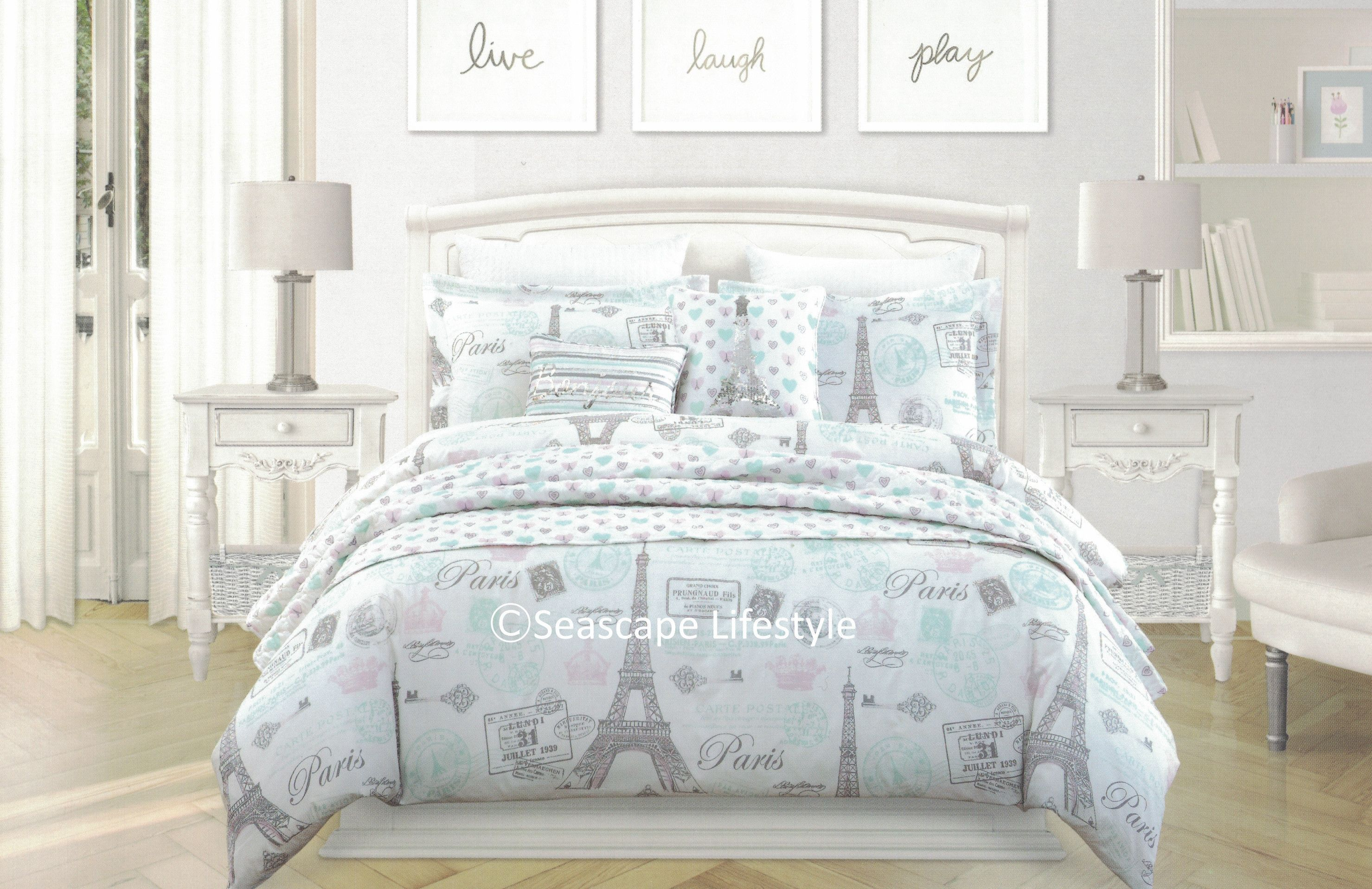 ❤ I LOVE PARIS ❤ Twin forter Set with Coverlet ❤ 5 pc