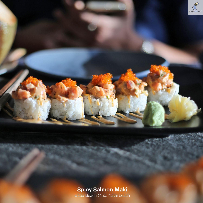Spicy Salmon Maki Baba Beach Club, Natai beach