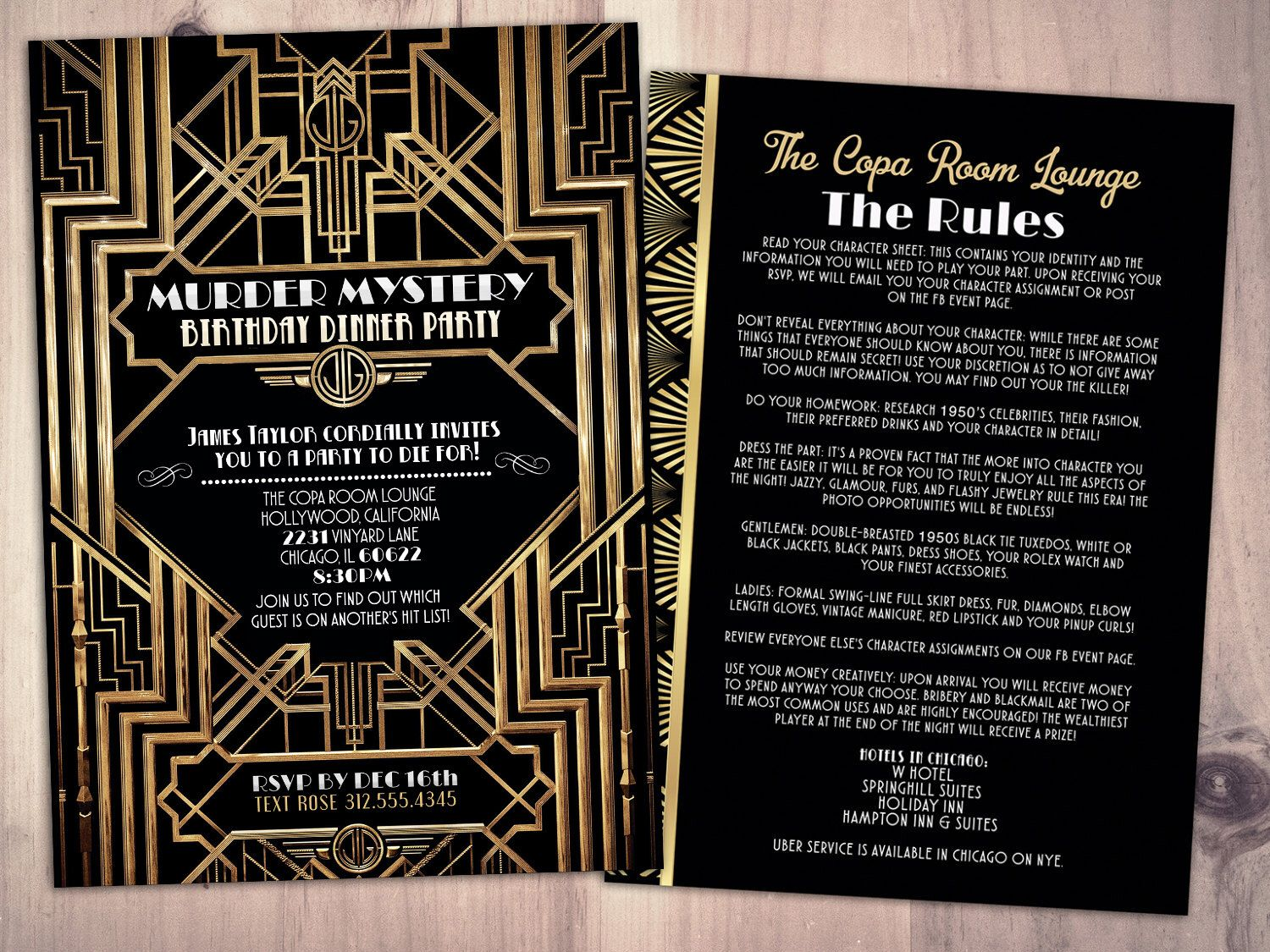 Murder Mystery Dinner Party Invitation, Vintage Party Invitation, Printable  Birthday Invite, Great Gatsby  Printable Dinner Invitations