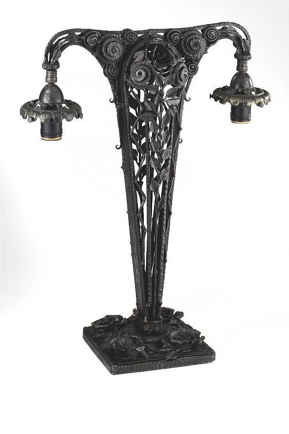 Attirant An Edgar Brandt Wrought Iron Table Lamp Base, Circa 1920