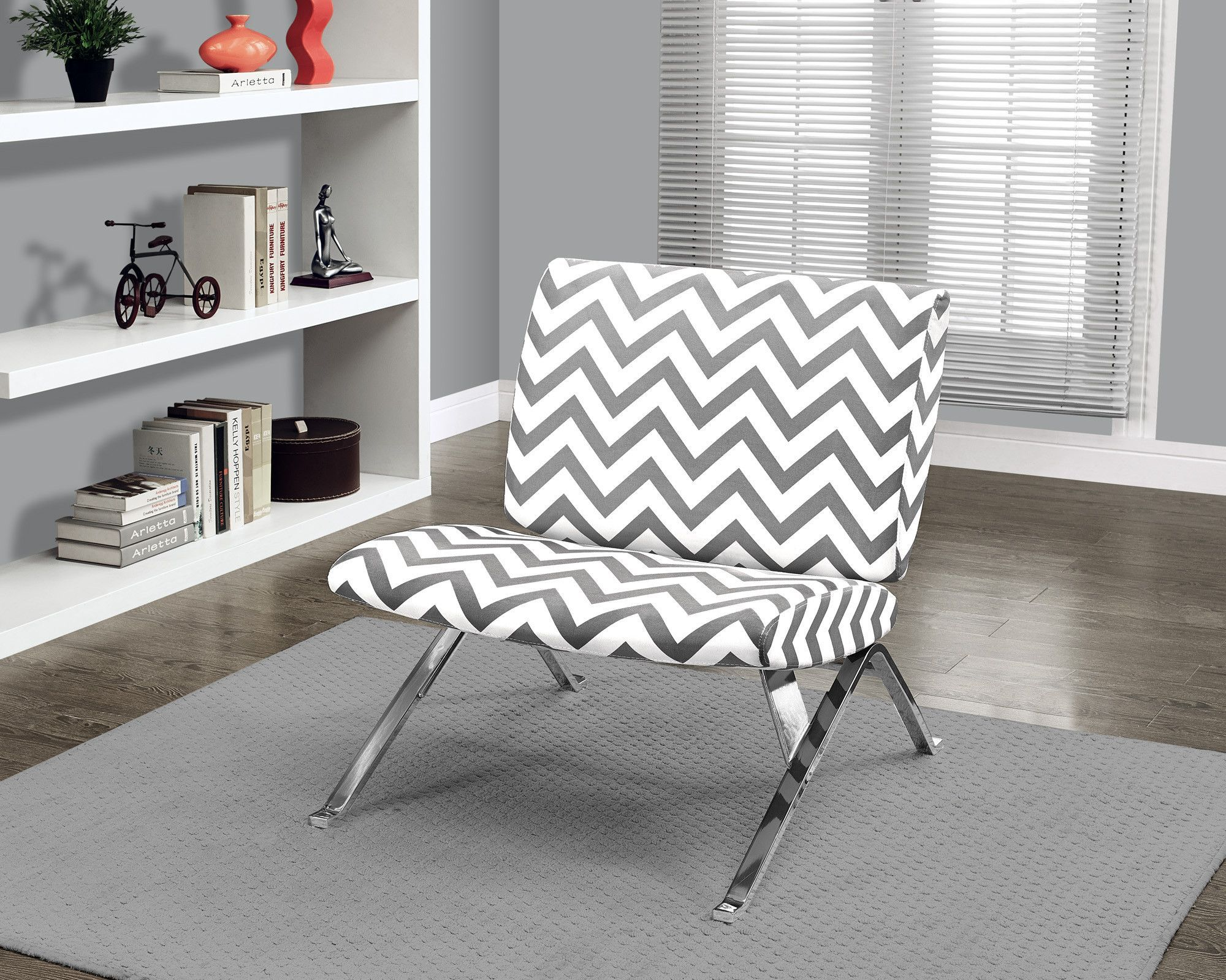 Pleasant Grey Chevron Fabric Chrome Metal Accent Chair Modern Ocoug Best Dining Table And Chair Ideas Images Ocougorg