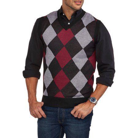 Ten West Mens V Neck Argyle Sweater Vest Size Medium Multicolor