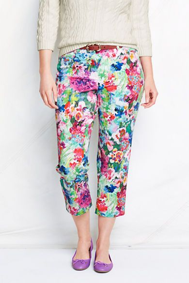 a1aec7addb1 Women s Fit 2 Floral Chino Crop Pants from Lands  End
