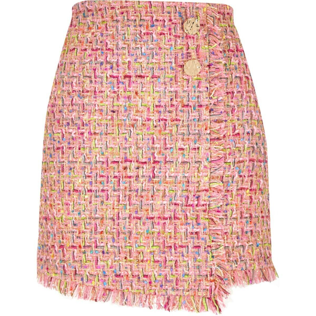 b2f8ad9fc7 Pink check boucle button mini skirt   bottoms in 2019   Mini skirts ...