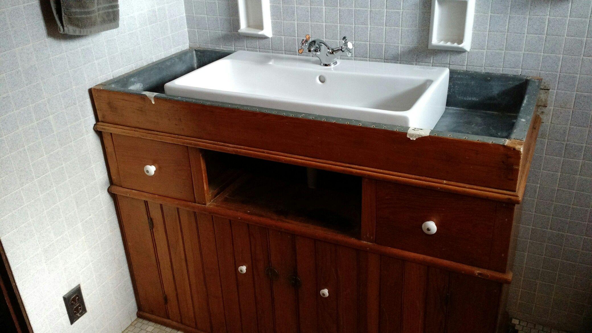 Dry sink converted to bathroom aink | Dry sink, Sink, Bathroom