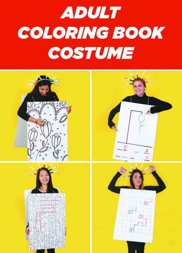 This Easy Diy Coloring Book Costume Is Perfect For Halloween Parties Book Costumes Diy Coloring Books Coloring Books