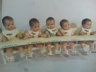 Set of 5 Vintage Madame Alexander Dionne Quintuplet Composition Baby Dolls