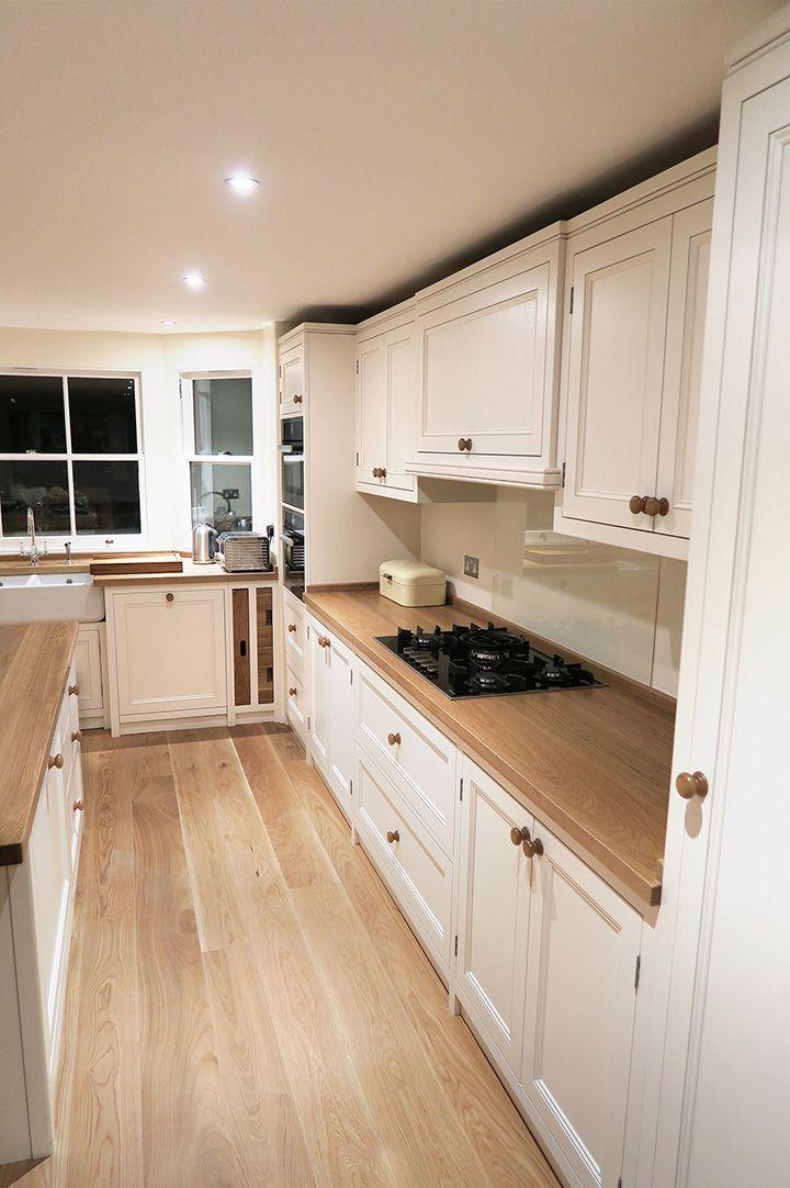 image result for white shaker kitchen oak worktops  white