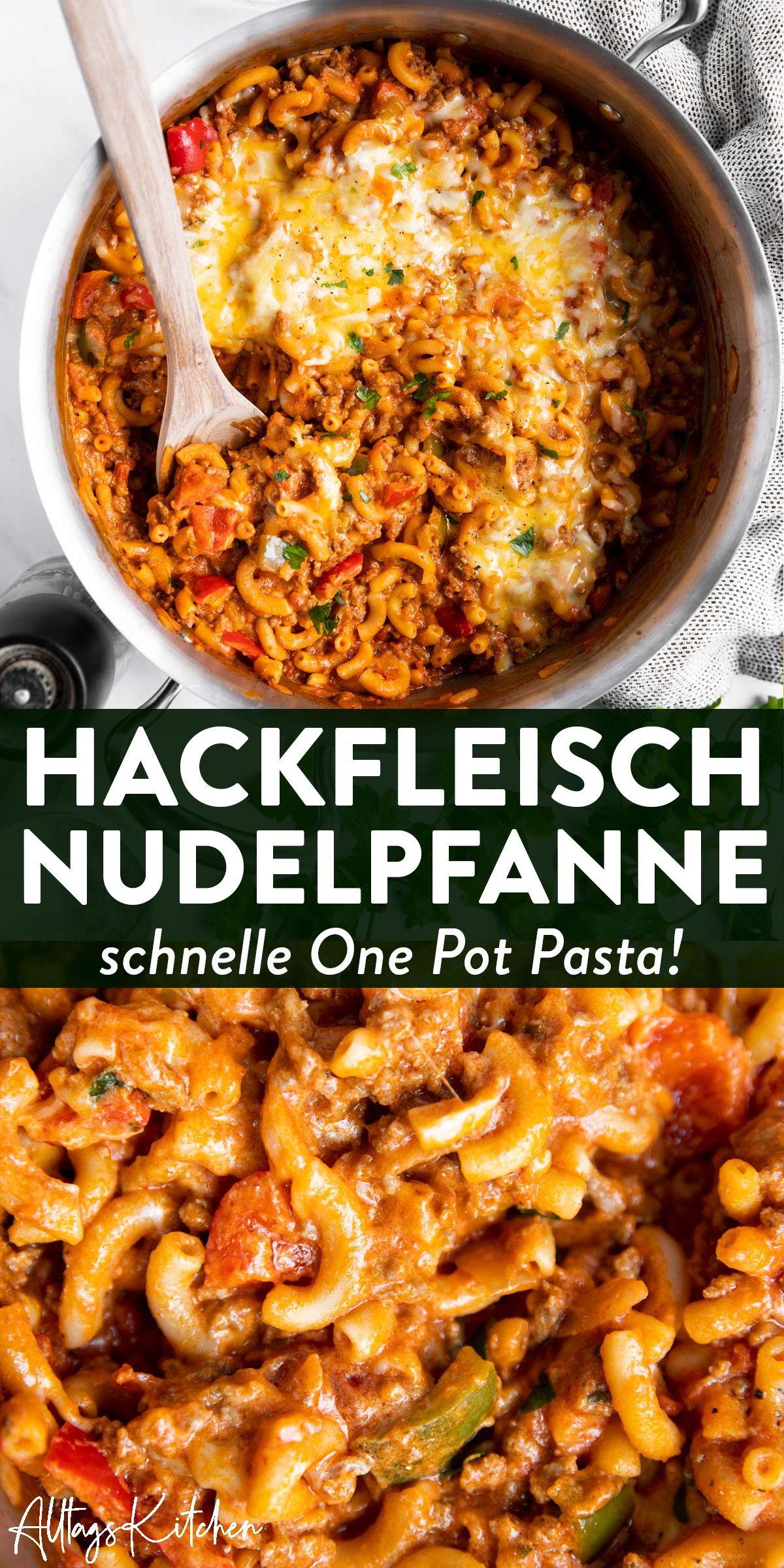 Einfache Nudelpfanne: Cremige One Pot Pasta mit Hackfleisch und Paprika