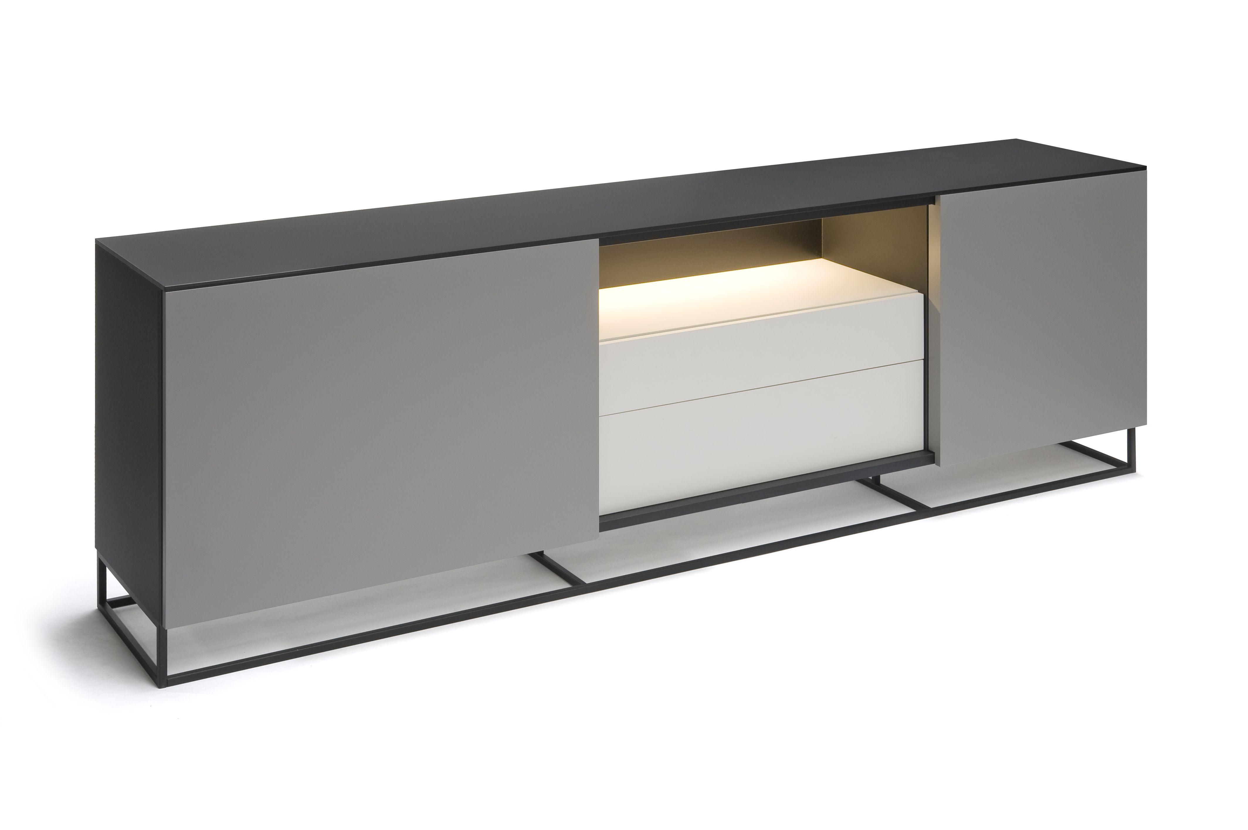 Modern Grijs Dressoir.Dressoir 230cm Abitare Met Led Verlichting Designkast Kasten