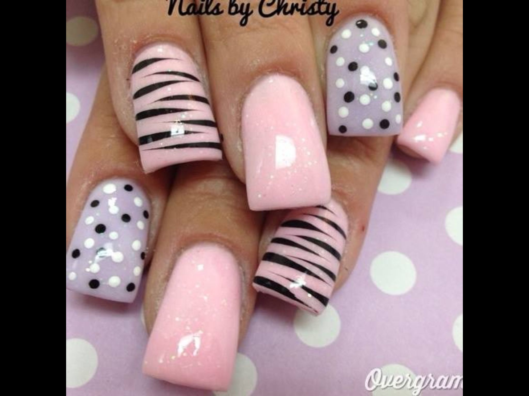 Pink and purple stripes and dots | Nail Art | Pinterest | Weihnachts ...