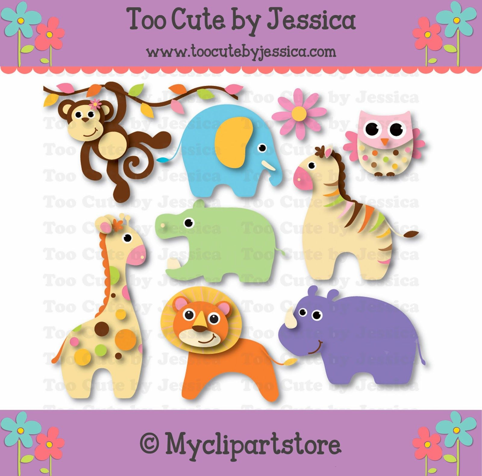 Baby Jungle Animals cutting files, cutting pattern, WPC, SVG, GSD, MTC, SCAL, SILHOUETTE, PDF, JPEG, DXF, Too Cute by Jessica, paper piecing, pazzles