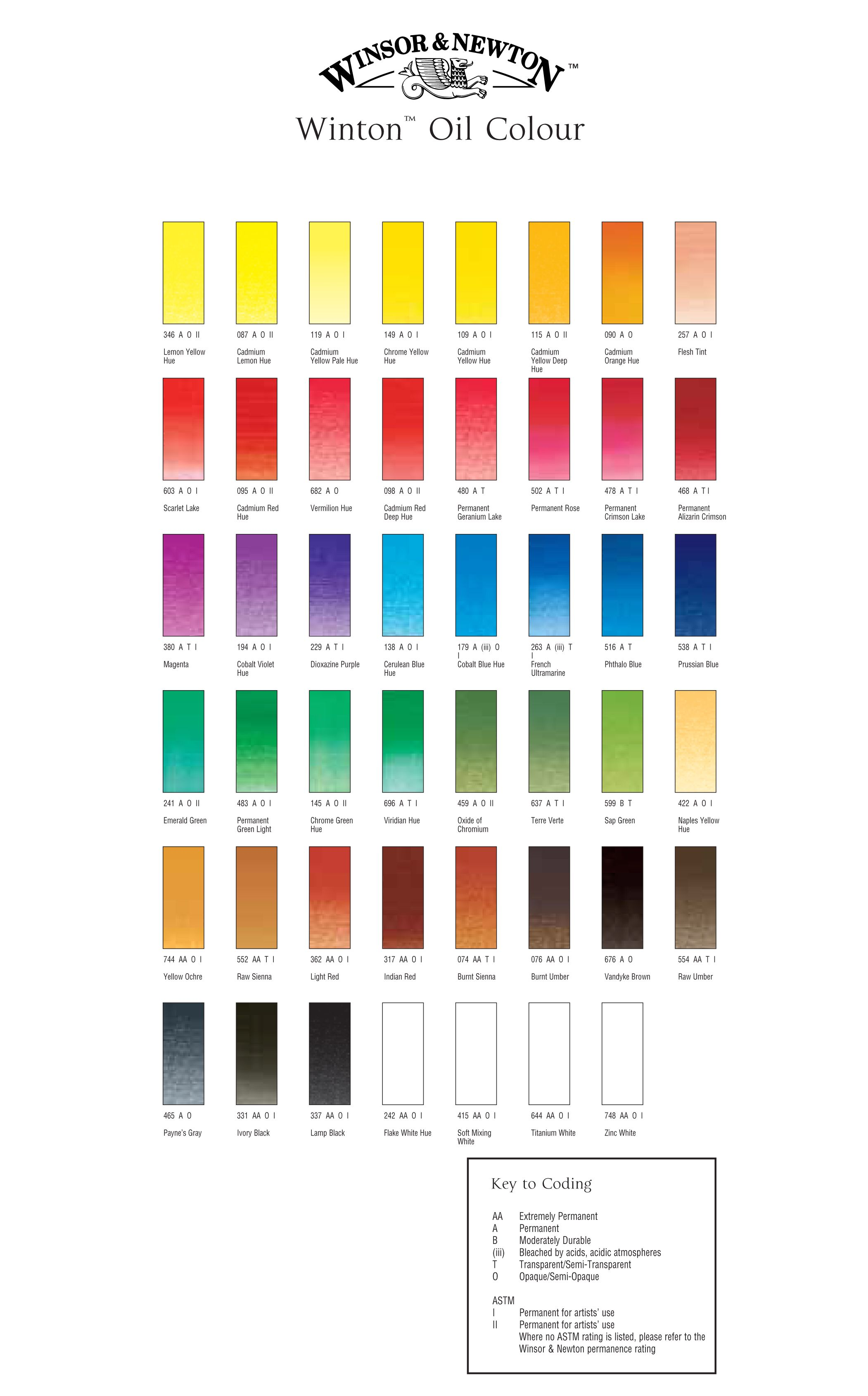 Winsor Newton Winton Oil Paint Colour Chart A Work In