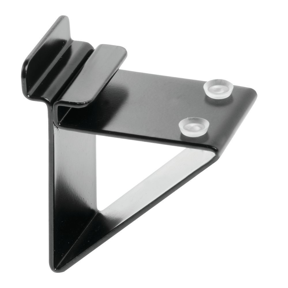Slatwall Glass Shelf Brackets, Black Glass shelf