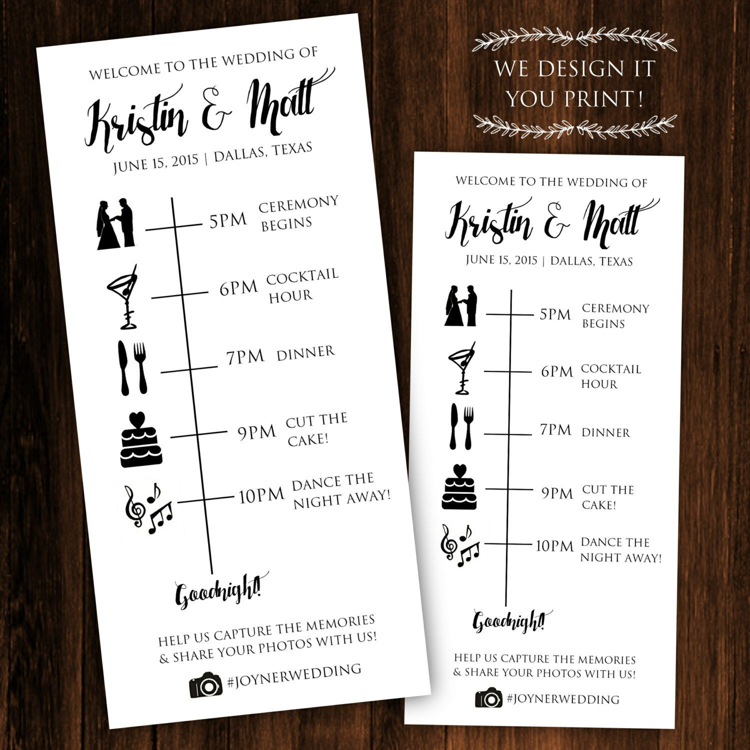 Printable Wedding Timeline - Printable Wedding Itinerary - Wedding ...