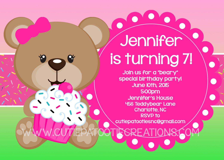 Teddy Bear Birthday Party Invitation, Printable or Printed by ...