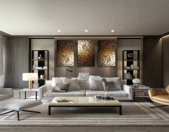 Original modern heavy texture carved sculpture floral gold - Oil painting ideas for living room ...