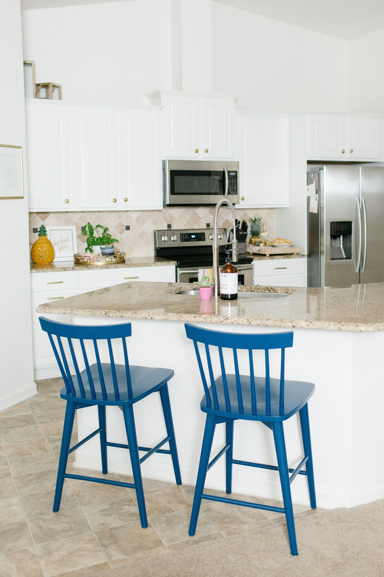 A Bright White Kitchen with Mema\'s Blue Hutch | Lantern light ...
