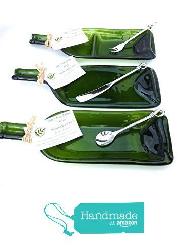 3 Piece Set of Green Slumped Wine Bottle Serving Dishes (set 3) Single Dip Dish, 3/4 Split Dish, & Flat Handle Up Dish.