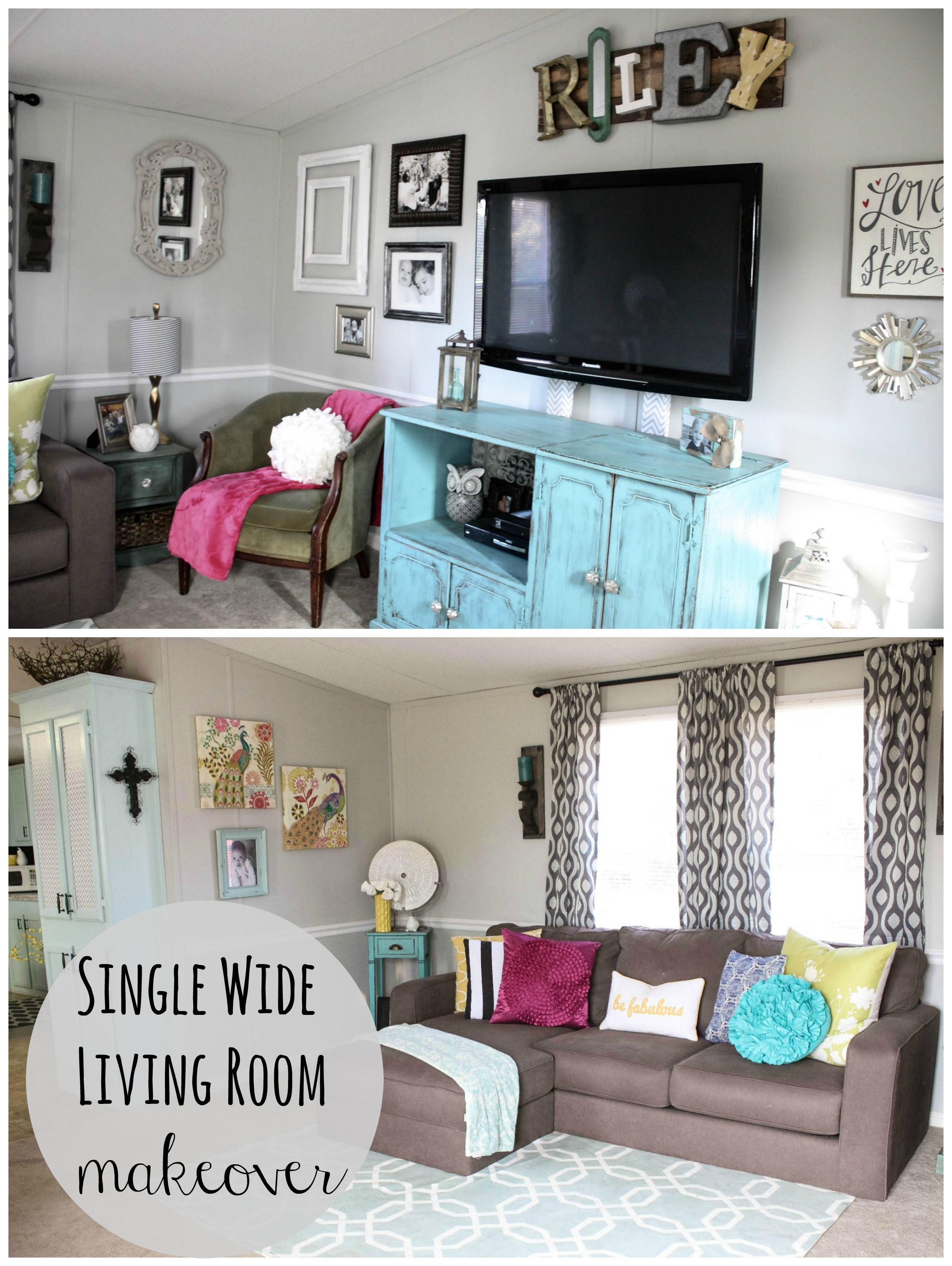 Mobile home living room reveal single wide cow and for Living room makeovers