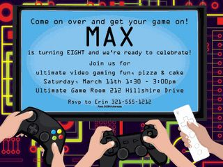 Video game invitation party ms great video game birthday party video game invitation party stopboris Image collections