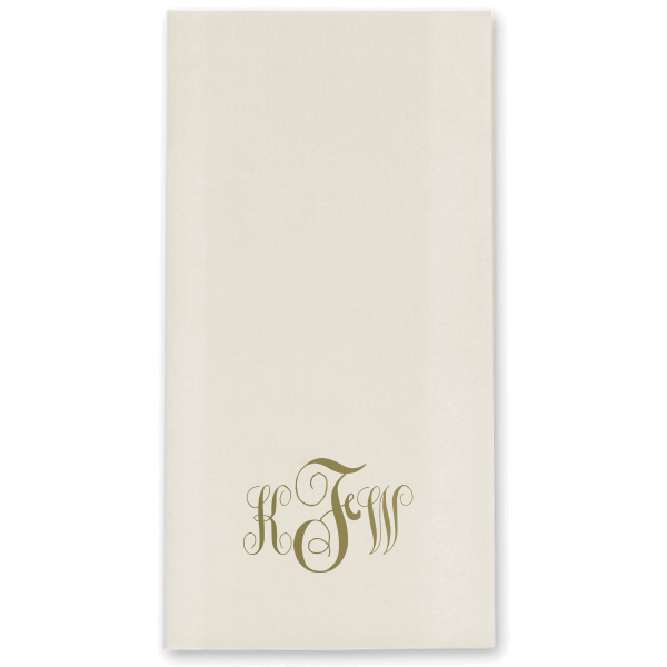 Custom Linen Like Ivory Linen Like Guest Towels with Satin 18 Kt. Gold on ForYourParty.com