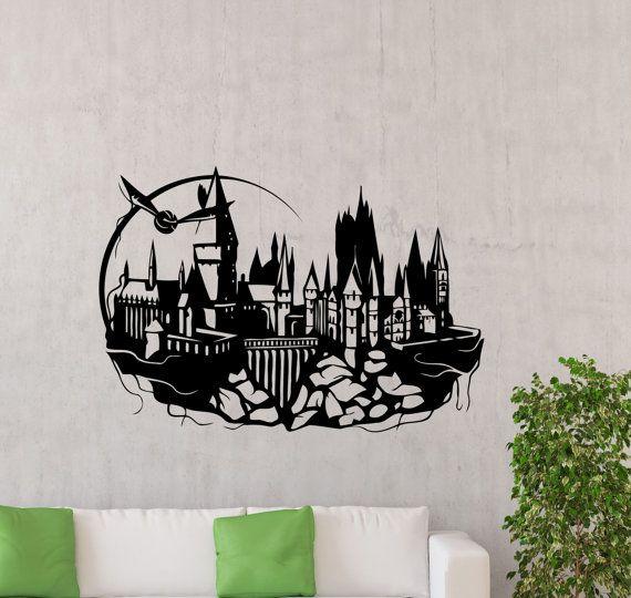 hogwarts wall decal harry potter magic kingdom silhouette. Black Bedroom Furniture Sets. Home Design Ideas