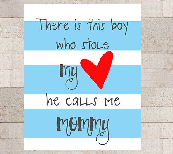 boys stole moms heart wall art baby shower by on wall of moms id=61120