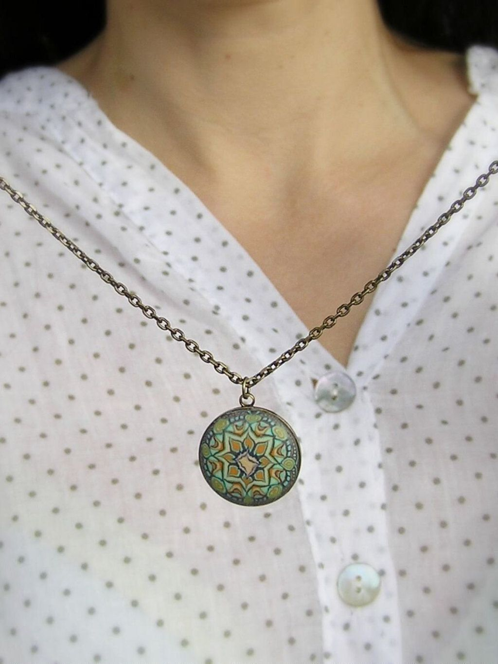 Green necklace layered brass round necklace floral gift botanic