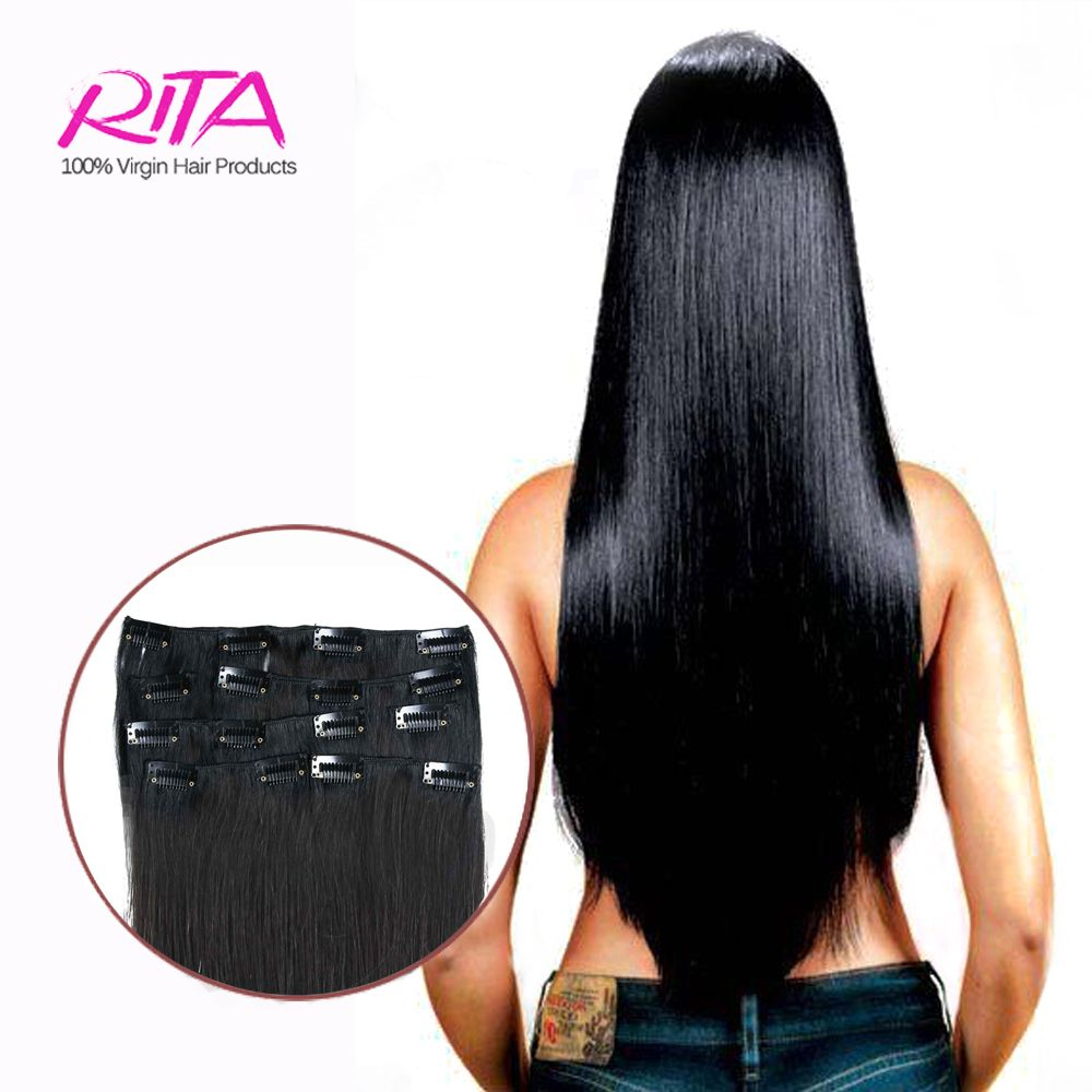 Black 1b Clip In Human Hair Extensions 16 28 Remy Clip In Hair