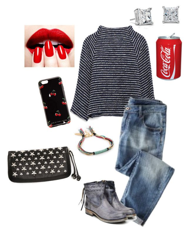 """""""Stripes & Coca Cola #2"""" by blue-jeans-baby ❤ liked on Polyvore featuring Zara, Wrap, Shashi, Bed Stü, Marc by Marc Jacobs, Jimmy Choo, Blue Nile, women's clothing, women's fashion and women"""