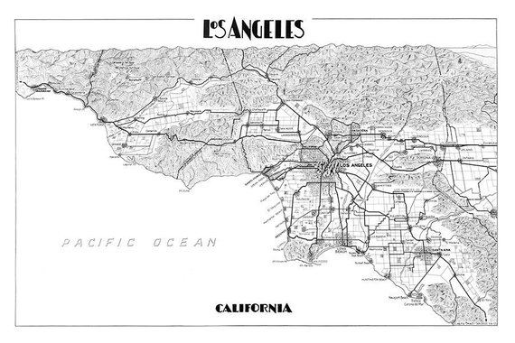 photo relating to Printable Map of Los Angeles known as Los Angeles map print map of Los Angeles print Los