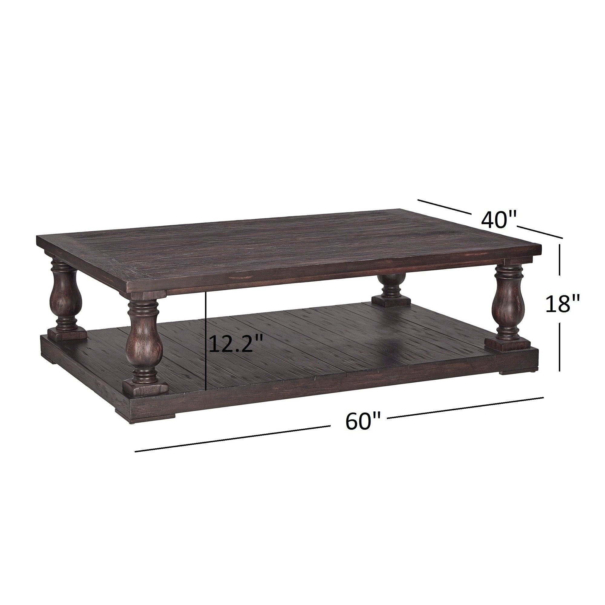 Edmaire Rustic Baluster 60 Inch Coffee Table By Inspire Q Artisan Charcoal Brown Finish In 2019 Living Room Decor Coffee Table Stand Table
