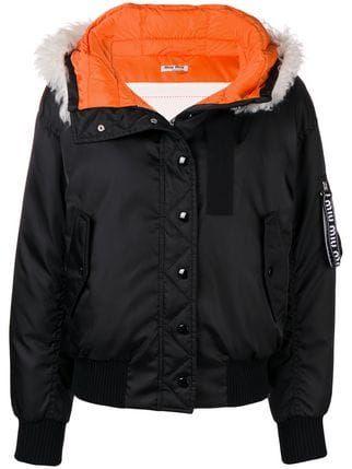 de43bc4bb25b8 Miu Miu fur-hooded bomber jacket