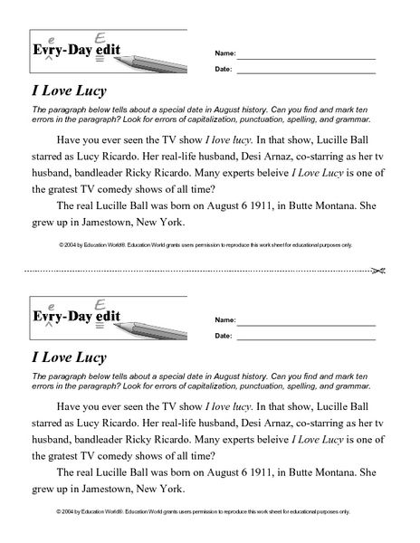 Every Day Edit - I Love Lucy 7th - 8th Grade Worksheet   Lesson ...