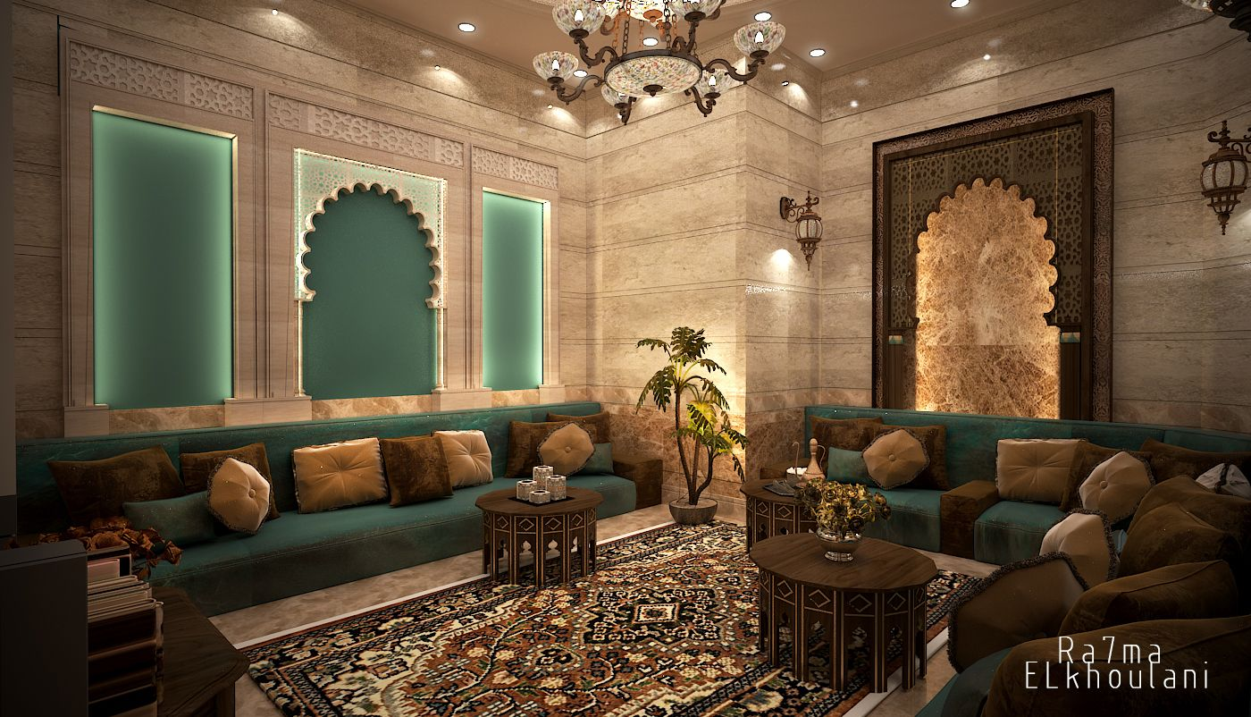 Interior design moroccan sitting room in saudi arabia for 3d max interior design