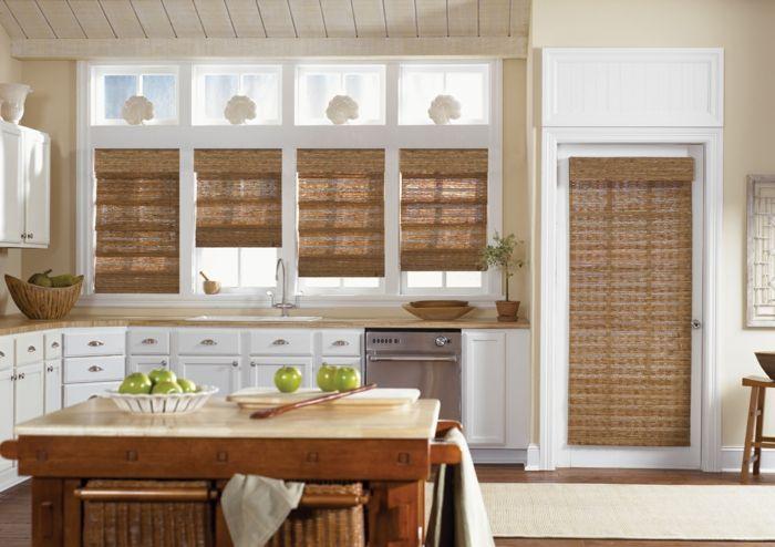 fenster sichtschutz holz fensterrollos geflochten küche | Vorhänge ...