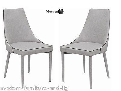 New 2x Modern Grey Fabric Dining Chair Grey Chair With Black