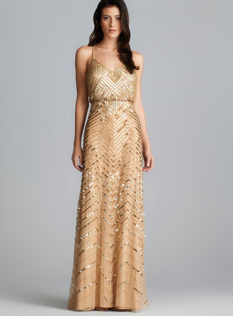 Adrianna Papell Cross Back Long Sequined Blouson Dress - Overstock ...